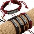 AMGJ Acredite Couro Pulseira Tibetana Liga de Prata Pingente Hemp Pulseira Pulseira Trançada Pulseira Presente do Dia Dos Namorados