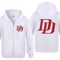 Daredevil DD Logo Sweatshirts Men 2018 Mens Zipper Hooded Fleece Hoodies Cardigans