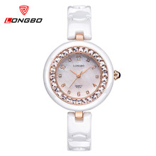 Top Montre Femme Luxury Brand LONGBO Watch Women Ceramic Fashion Casual Quartz Watch Women Dress Waterproof Watches Relojes 6127