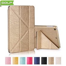 GOLP Caso para El Ipad MINI 1 2 3 Lujo Soporte de Múltiples Ángulos de LA PU Cubierta Protectora Volver PC Caja de la Tableta de cuero para el ipad MINI 1 2 3