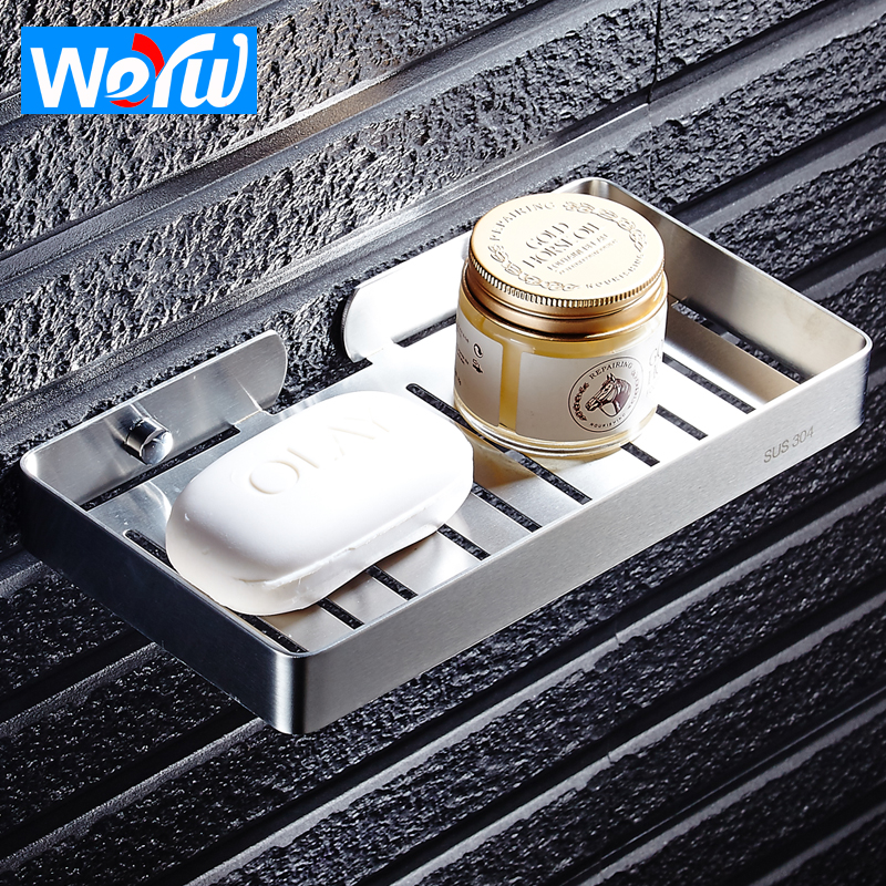 WEYUU Toilet Stainless Steel Soap Dish Wall Mount Bathroom Square Lengthened Soap Dish Bath Products Storage Rack