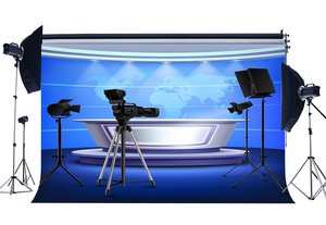 Image 1 - Live News Room Backdrop Direct Broadcasting Room Backdrops Shining Stage Lights Shabby Carpet Interior Photography Background