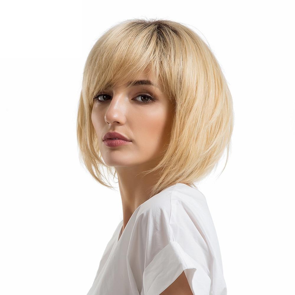 2018 Fashion Shoulder Length Bobo Wigs With Bangs Medium Hair Human Hair Wigs 0921 газонокосилка электрическая bosch arm 37