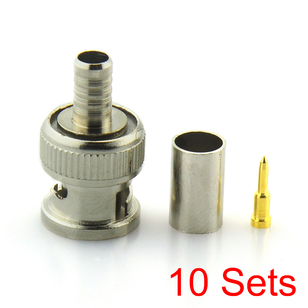10x BNC Male Crimp-on Connector for Coax Coaxial Cable RG59//62