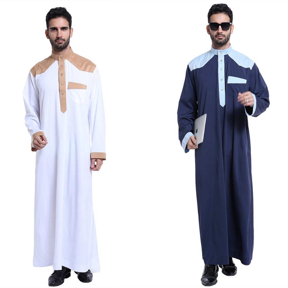 2018 Muslim islamic saudi thobe for men abaya moroccan dubai dress turkish Thawb Caftan fashionable patchwork