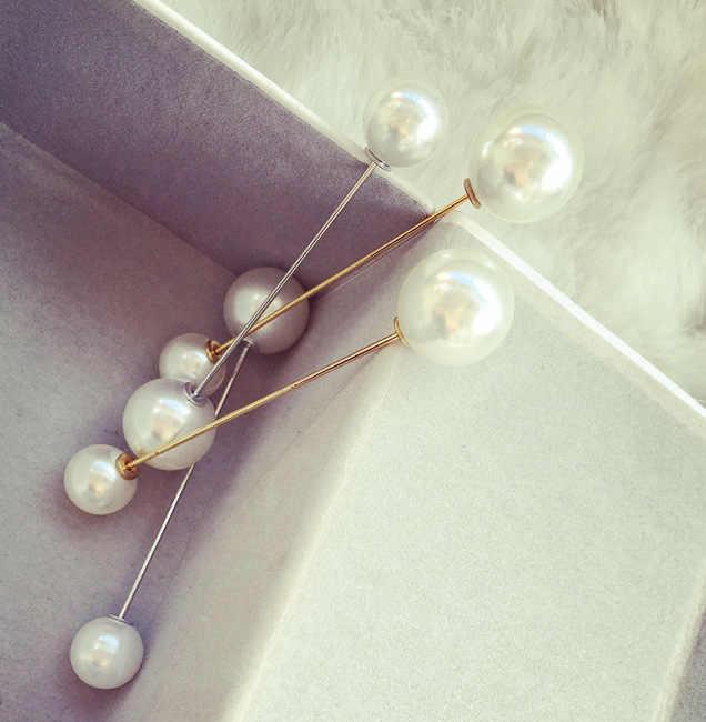 Ukuran Double Kepala Simulasi Mutiara Fashion Bros Perhiasan Kata Pin Kerah Kartu Cardigan Syal Tombol Bridal Bros untuk Wanita
