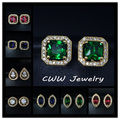 2017 Fashion Gold Plated Princess Cut  Royal Blue Green And Ruby Red Cubic Zircon Created Diamond Stud Earrings For Women CZ242