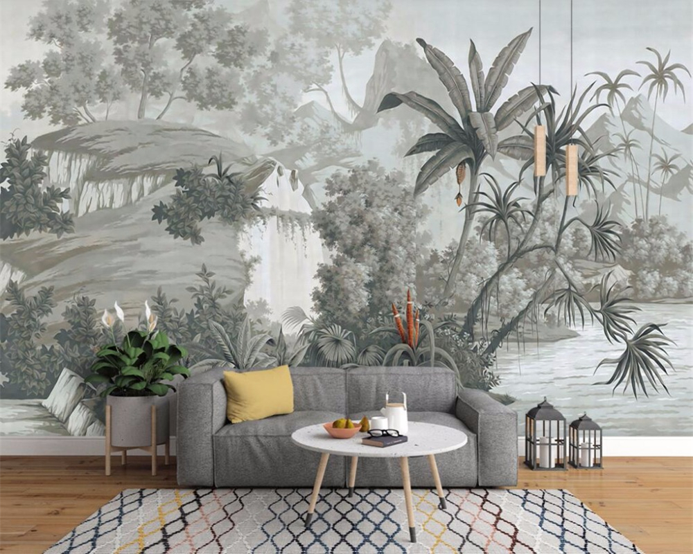 Beibehang Custom Wallpaper European Retro Nostalgic Hand-painted Rainforest Banana Palm Sofa TV Mural Background 3D Wallpaper