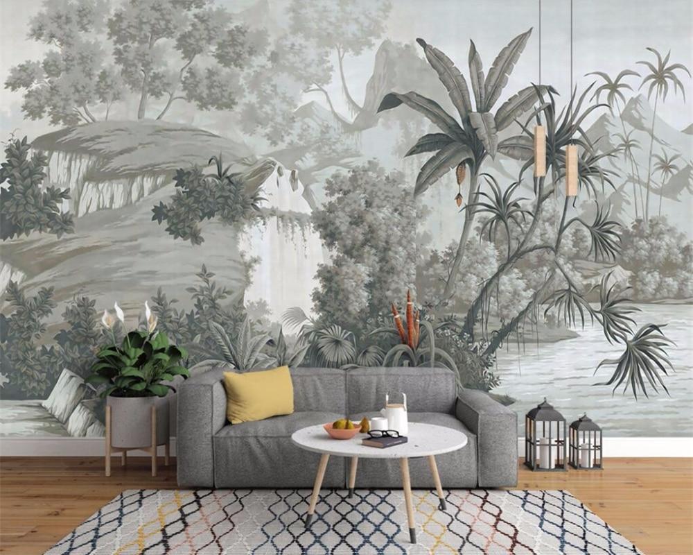 Beibehang Custom Wallpaper European Retro Nostalgic Hand-painted Rainforest Banana Palm Sofa TV Mural Background 3D Wallpaper