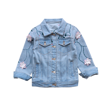 Big Girls Denim Jackets Turn-down Collar Flower Coats For Girls Clothing Children Embroidered Outerwear 4 5 6 7 8 9 10 12 Years