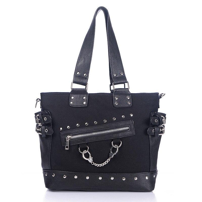 JIEROTYX Canvas Tote Bag Rivet Womens Zipper Wide Strap Shoulder Gothic punk handbag woman High Quality