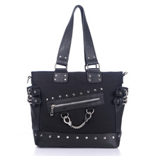 JIEROTYX Canvas Tote Bag Rivet Women's Bag Zipper Canvas Tote Wide Strap Shoulder Bag Gothic punk handbag woman High Quality недорого