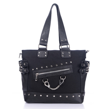 JIEROTYX Canvas Tote Bag Rivet Women's Bag Zipper Canvas Tote Wide Strap Shoulder Bag Gothic punk handbag woman High Quality zip closure canvas tote bag