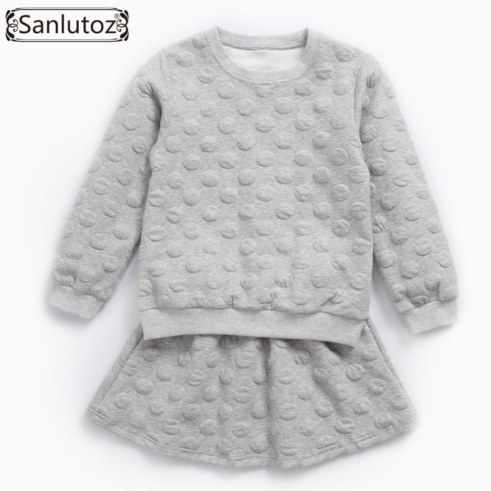 Sanlutoz Girls Clothing Set Toddler Long Sleeve Girl Clothes Winter Kids Clothes Brand Autumn Sport Suit 2 PCS ( Tops + Skirt ) 3pc toddler baby girls clothing denim t shirt tops long sleeve leopard skirt set kids clothes girl outfit