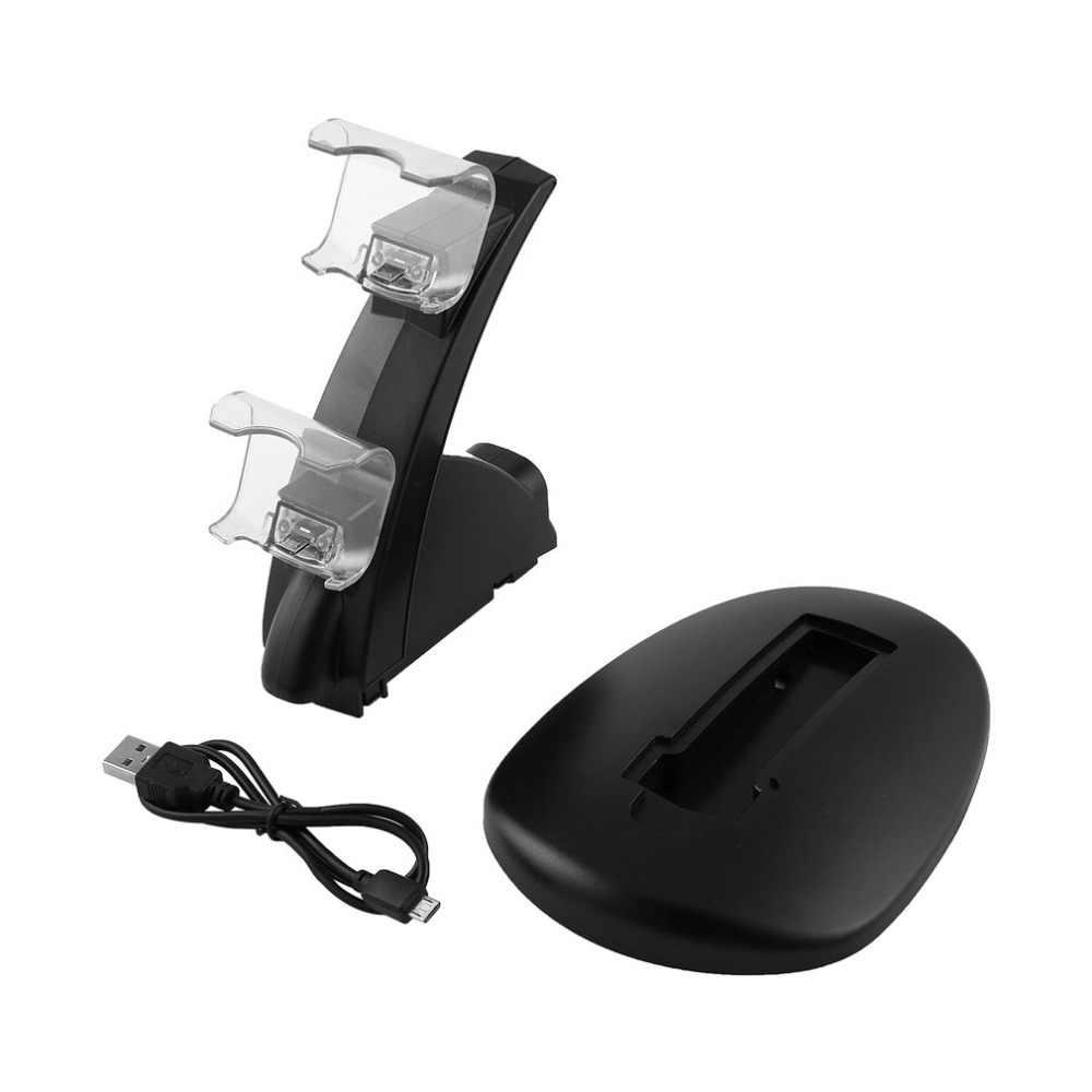 Çift USB Gamepad denetleyici şarj için Sony PS4 serisi Dock oyun denetleyicisi güç kaynağı şarj standı Cradle braketi tabanı
