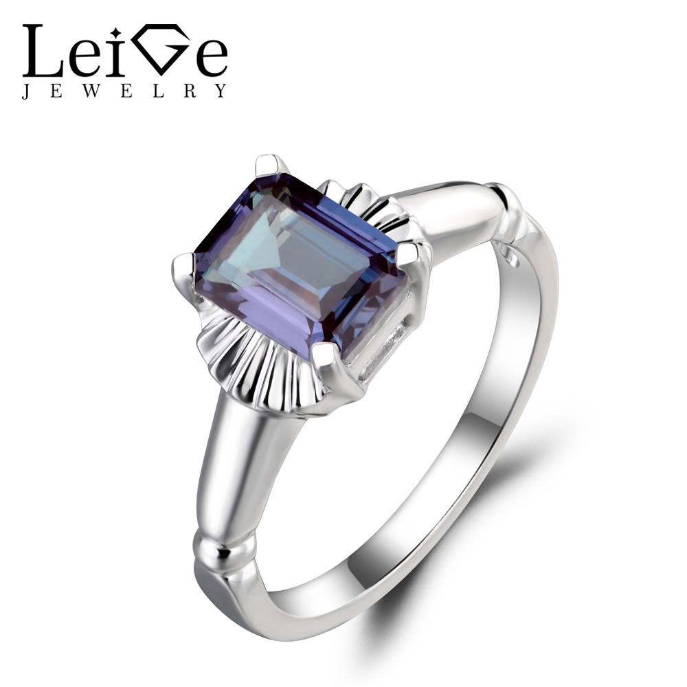 Leige Jewelry Solitaire Ring Lab Alexandrite Ring Wedding Ring Emerald Cut Gemstone 925 Sterling Silver June Birthstone for Lady цена