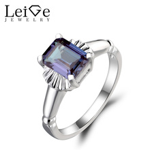 Leige Jewelry Solitaire Ring Lab Alexandrite Ring Wedding Ring Emerald Cut Gemstone 925 Sterling Silver June Birthstone for Lady