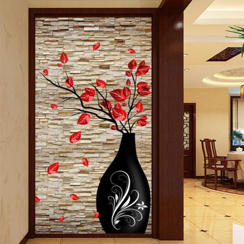 Custom 3D Stereo Photo Wall Mural Modern Vase Flower Brick Wall Wallpaper Living Room Bedroom Bathroom Door Decor Wall Paper комплект дефлекторов vinguru накладные скотч для kia sportage 2010 4 шт