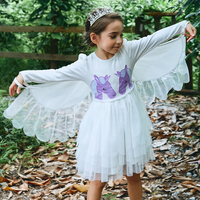 2018 Girl Full Sleeves dress baby kids unicorn dresses Removable Angel Wings dresses white Pink clothes swan dress Party garment