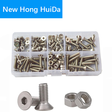 цена M4 Hex Flat Socket Head Cap Screws Metric Thread Hexagon Countersunk Bolts Nuts Assortment Kit Set 180pcs 304Stainless Steel онлайн в 2017 году