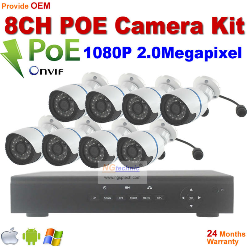 New arrival! 1080P Waterproof outdoor IR night motion detect POE IP Cameras with 8CH Onvif Full HD 48V Real PoE 80-100m NVR Kits 2014 sale 4ch onvif full hd 48v real poe 80 100m nvr kits with 720p varifocal 2 8 12mm lens ip cameras p2p cloud service
