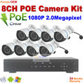 New arrival! 1080P Waterproof outdoor IR night motion detect POE IP Cameras with 8CH Onvif Full HD 48V Real PoE 80-100m NVR Kits