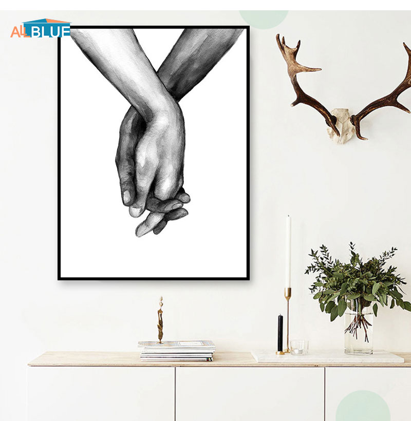 HTB1clBLX4 rK1RkHFqDq6yJAFXaL Nordic Poster Black And White Holding Hands Canvas Prints Lover Quote Wall Pictures For Living Room Abstract Minimalist Decor