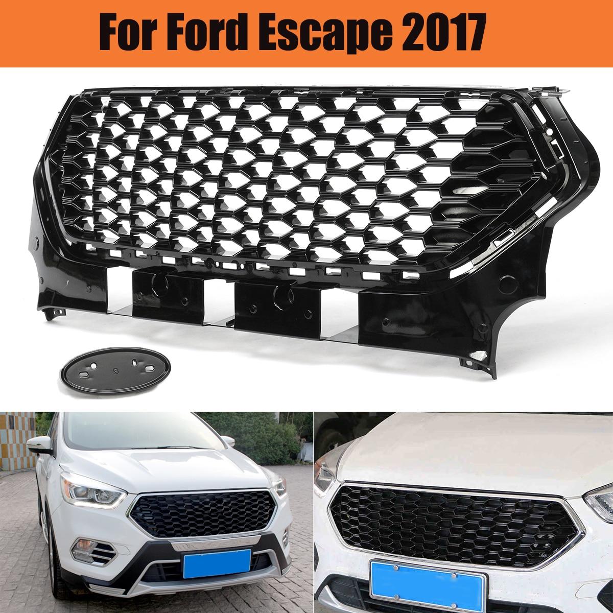 Autoleader Noir Brillant Double Honeycomb Style Pare-chocs Avant Grille 110x40 cm Racing Grills Remplacement pour Ford pour Échapper 2017