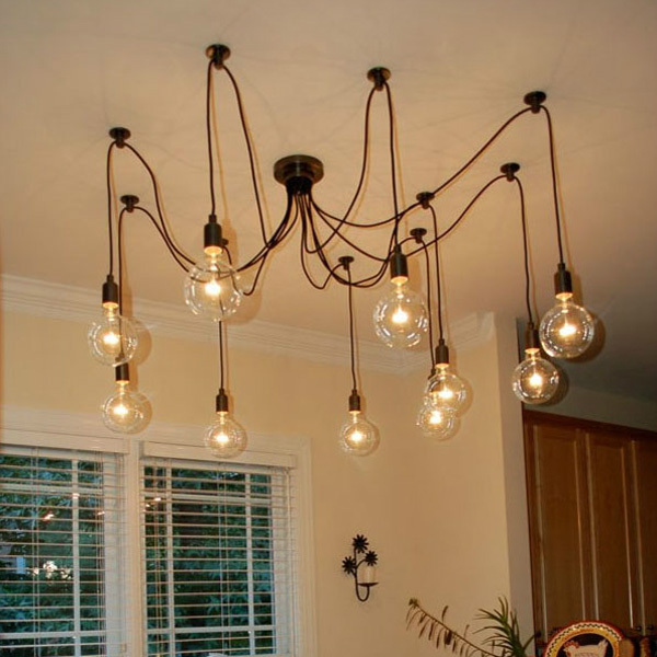 Mordern nordic retro edison bulb pendant light vintage for Diy edison light fixtures
