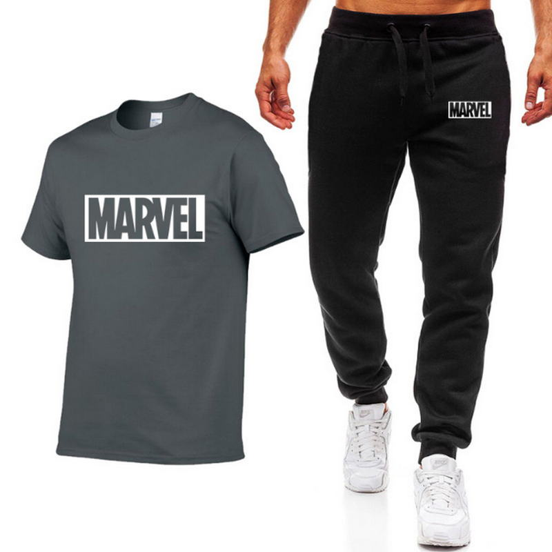 Summer Two Pieces Sets Men T Shirts pants Suit Men cotton Tops Tees Fashion Brand Print Tshirt High Quality Short sleeve T shirt in T Shirts from Men 39 s Clothing