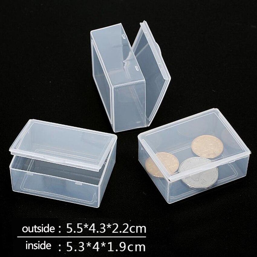 1pc Portable Transparent Plastic Storage Box Clear Square Multipurpose Display Case Plastic Jewelry Storage Boxes HOT