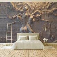 Пользовательские обои Европейский 3D стереоскопический рельефный абстрактный красивый боди-арт фон настенная живопись гостиная спальня Фр...