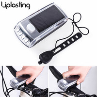 Liplasting 1pc Solar Powered Bike Front Light 4 LED Mountain Bicycle Solar Headlamp USB Rechargeable Waterproof