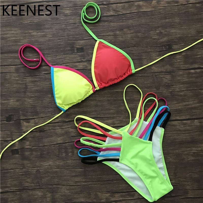 KEENEST Sexy Tanga Neon Bikini Strappy fluoreszkáló színek Fürdőruha Rainbow úszni viselni Női tanga alsó fürdőruha