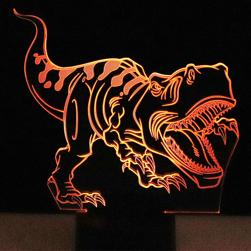 3D LED Night Lights Tyrannosaurus Rex Dinosaur with 7 Colors Light for Home Decoration Lamp Amazing Visualization Optical Illusi 37 cm tyrannosaurus rex with platform dinosaur mouth can open and close classic toys for boys animal model without retail box
