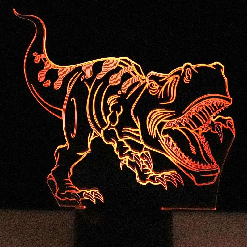 3D Tiranossauro Rex Dinossauro com 7 Cores de Luz LED Luzes Da Noite para Casa Decoração Da Lâmpada Incrível Illusi Visualização Óptica