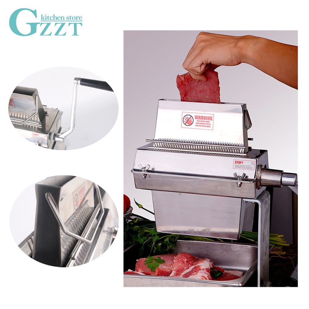 "Commercial Stainless Steel Manual Meat Tenderizer Machine Heavy Duty Kitchen Tool 14*2/20*2/37*2 Knives 7"" Wide"