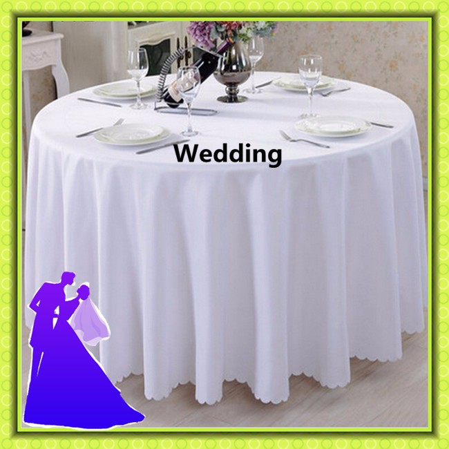 Cheap Round Tables For Sale: 132 Inch White Cheap Table Cloth Polyester Banquet For