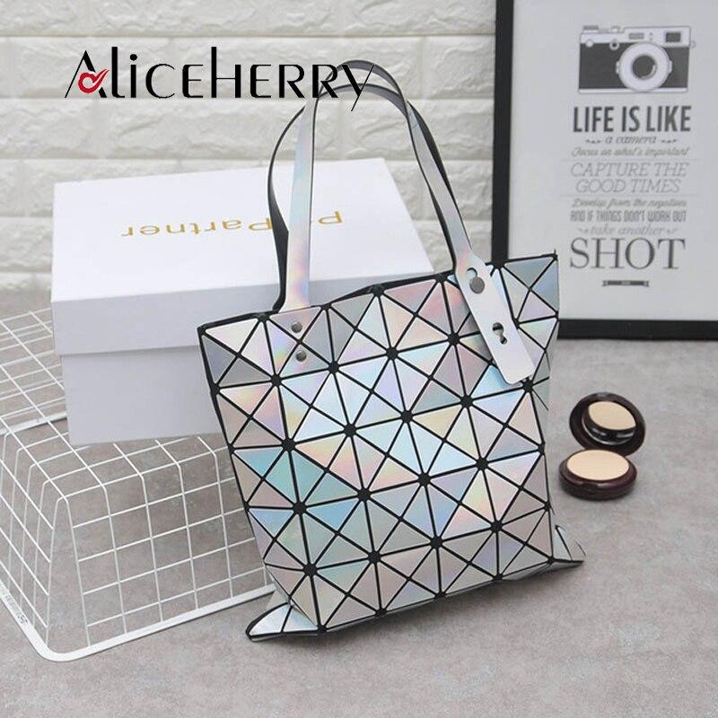 Aliceherry Women Bag Geometry Luxury Brand Ladies Diamond lattice PU Leather Casual Handbag Japanese Totes Bag