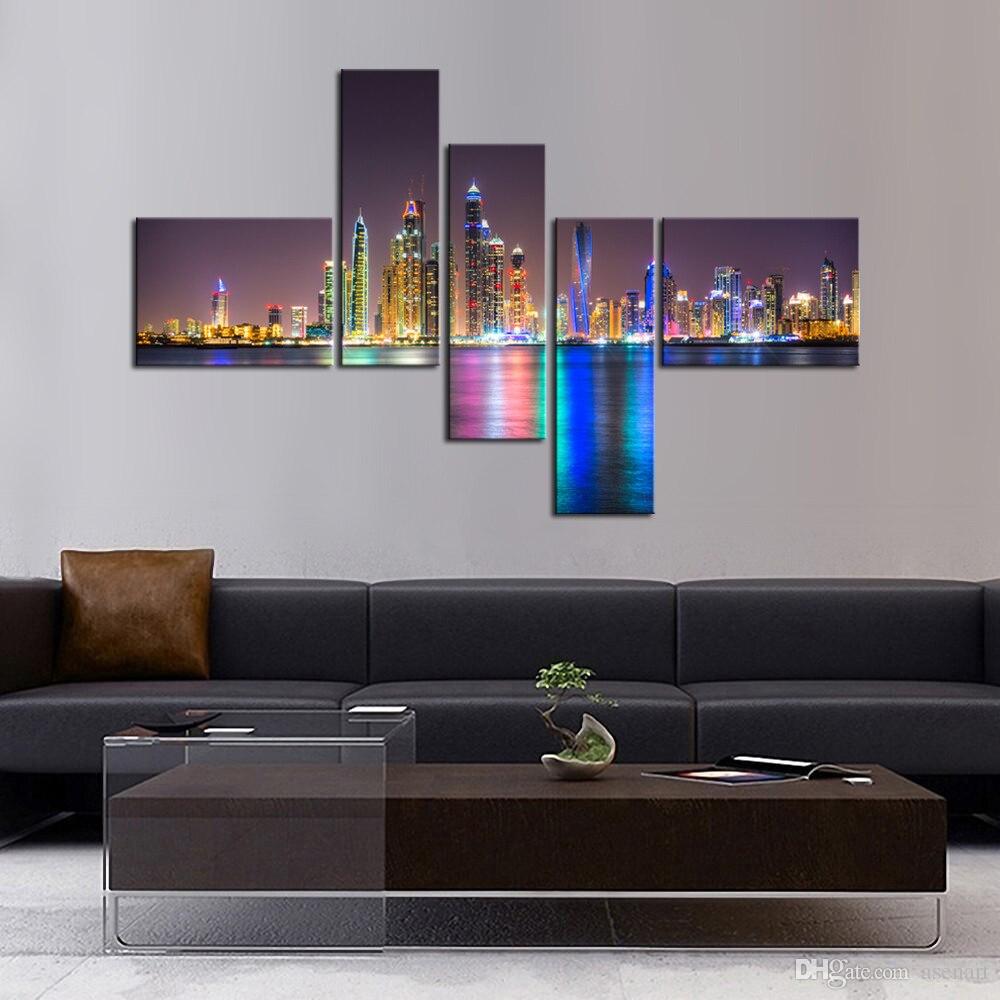 5 Panel Urban Nightscape Wall Art Painting Modern ...