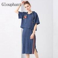 Glouphant 2017 Mùa Thu Hoa Phụ Nữ Áo Thun Blouser Hai Mảnh Set Hoodies Phụ Nữ Tăng Váy Đầu Đặt Quần Áo Ladies Văn Phòng B