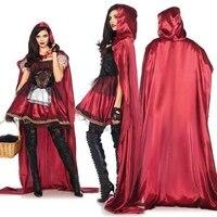 CFYH 2018 New Hot sale Little Red Riding Hood Costume for Women Fancy Adult Halloween Cosplay Fantasia Dress+Cloak+glove