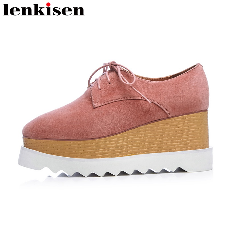 Lenkisen 2018 new arrival square toe lace up platform brand causal shoes wedges concise high heels preppy style women pumps L18