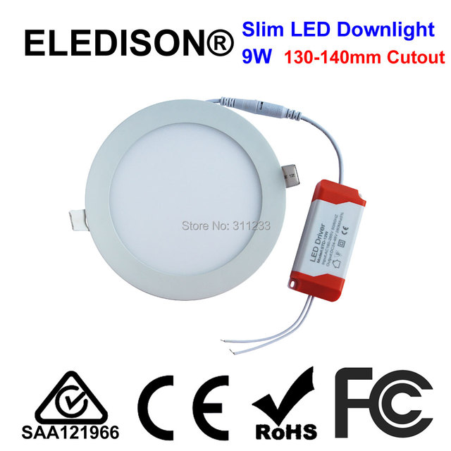 4 inch Slim LED Light Panel 9W Ceiling Downlight 120mm Cutout 800LM ...