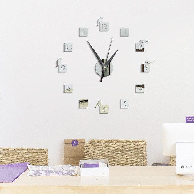 2017 diy grande orologio da parete design moderno 3d for Specchio da parete grande