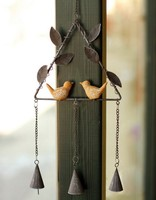 Free Shipping European Style Triangular Shape Resin Bird Design Wind Chime Vintage Metal Wind Bell Door