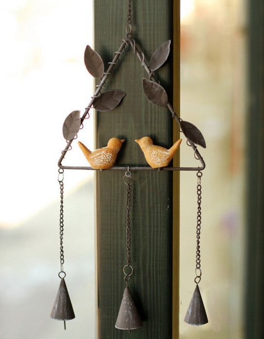Free Shipping! European Style Triangular Shape Resin Bird Design Wind Chime Vintage Metal Wind Bell Door & Wall Decor