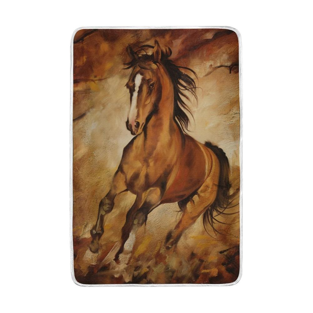 Animal Horse Blanket Lightweight Soft Warm Blankets Twin Size 60x90 inches for Bed <font><b>Sofa</b></font> Couch Office Home Decor Cobija