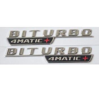 1 Pair Chrome Biturbo 4 MATIC + Mobil Batang Fender Huruf Badge Emblem Emblem Lencana untuk Mercedes Benz AMG 2017 -2019