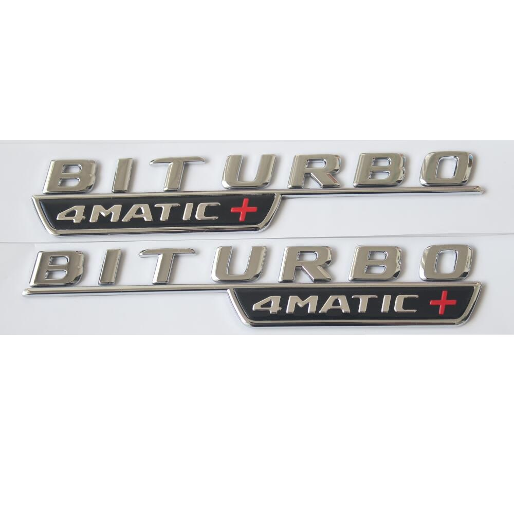 1 pair Chrome BITURBO 4MATIC+ Car Trunk Fender Letters Badge Emblem Emblems Badges for Mercedes Benz AMG 2017-2018